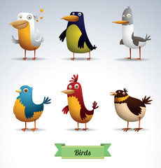 Vector Set of Funny Birds. Cartoon image of six funny birds of various shapes and different colors on a light background.