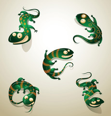 Vector Set of funny green lizards. Cartoon image of five funny green lizard on a light background.
