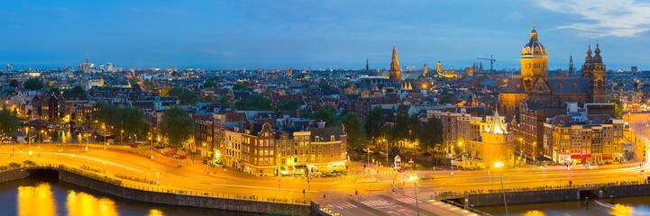 Panorama of night Amsterdam