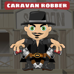 Aluminium Prints Wild West Cartoon character in Wild West - caravan robber