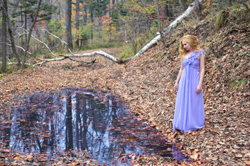 Beautiful fairy lady by the water in the forest
