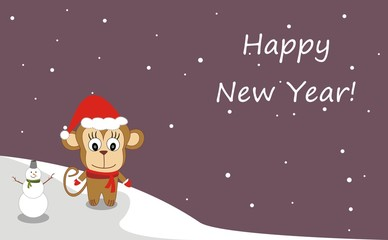 Illustration of a monkey in a hat - Happy New Year!