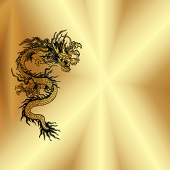 gold background with Chinese dragon