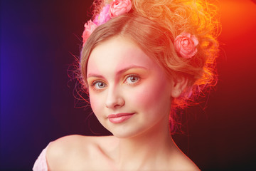 Teenager girl posing in a studio