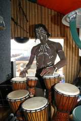 The statue of the dark-skinned native