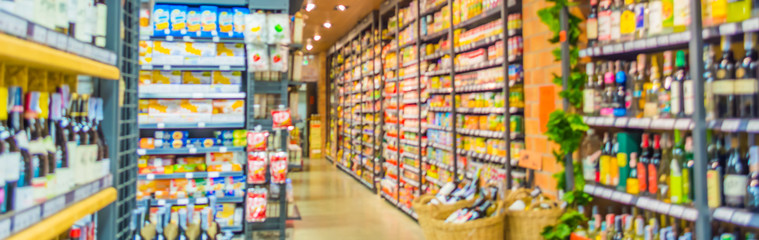 blurred image of supermarket