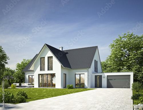 Haus Standard Weiss Mit Garage Stockfotos Und Lizenzfreie Bilder Auf