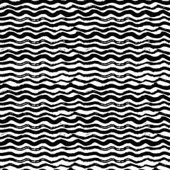 Waves - hand drawn marker and ink seamless pattern. Black scratchy texture with bold wavy lines