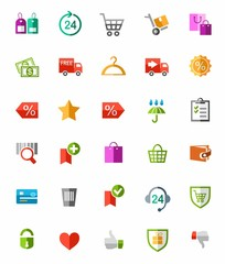Online shop, payment, delivery, colored icons.