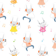 Vector seamless pattern with cartoon rabbits listening to music on white background.