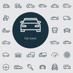 car outline, thin, flat, digital icon set