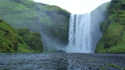 Fotomurales - The famous Skogarfoss waterfall in the south of Iceland.