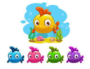 Funny cartoon yellow baby fish
