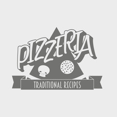 Vintage pizzeria label, badge or design element. Can be used to design menu, business cards, posters