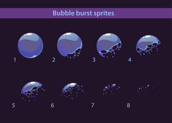 Cartoon soap bubble burst sprites