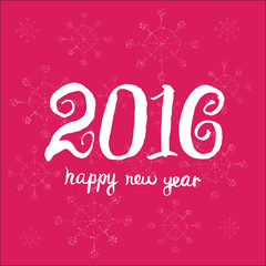 Happy new year 2016. Universal Hand drawn Vector background. Cre