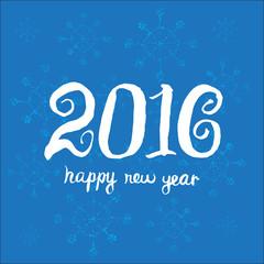 Creative greeting card design template. Happy new year 2016. Uni