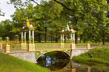View of bridge in Alexander Park, Tsarskoye Selo, Russia.