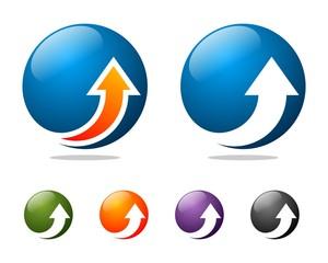 up arrow globe logo