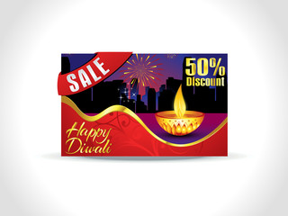 abstract artistic diwali discount card background