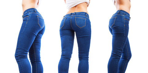 collection of young woman bottom wearing jeans