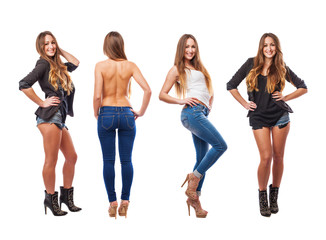 collection of a young woman wearing different clothes