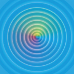 Circular waves on water surface - with mystical rainbow colored aura. Vector illustration.