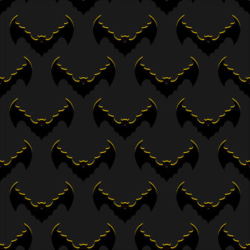 Bats background. Flock of flying bloodsuckers seamless pattern.