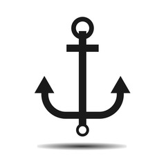 black marine anchor vector flat