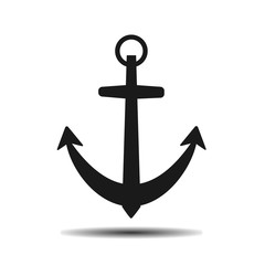 black sea anchor vector flat