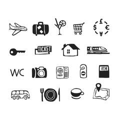 Travel icons vector sketch set