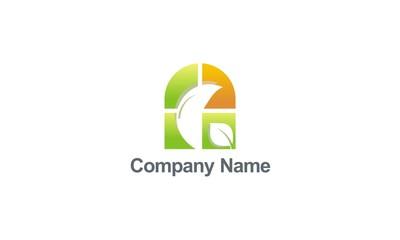 green leaf window colored decoration logo