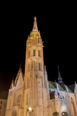 Matthias Church in Buda Oldtown by Night - Budapest, Czech Republic