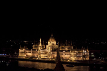 Hungarian Parliament Building by Night - Budapest, Czech Republic