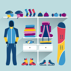 Ski sport store. Winter activities boutique indoor. Flat design vector illustration.