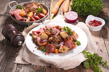 lentils with vegetable and meats