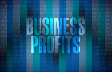 Business profits binary sign concept