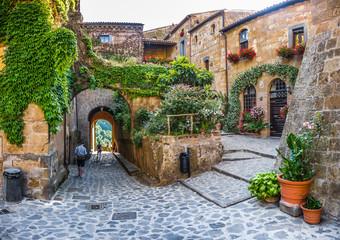 Idyllic alley way in civita di Bagnoregio, Lazio, Italy