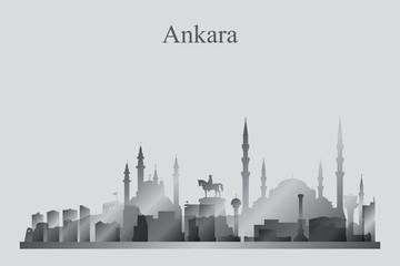 Ankara city skyline silhouette in grayscale