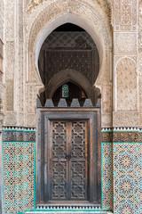Wooden door in a Madrassa, Fez, Morocco