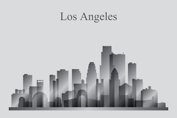 Los Angeles city skyline silhouette in grayscale