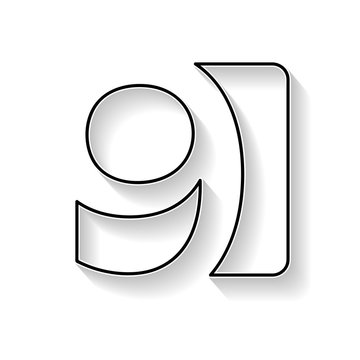 Vector number 9. Sign made with black line