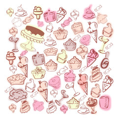 Set of ice cream and cakes