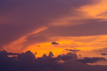 colorful dramatic sunset sky with orange cloud, twilight sky