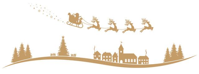 santa claus sleigh reindeer fly gold landscape