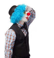 portrait of a funny clown over white