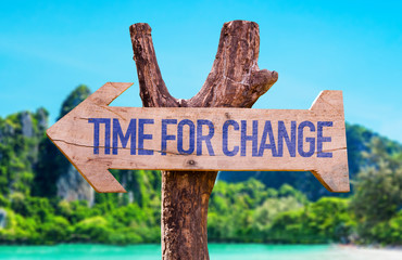 Time for Change arrow with beach background