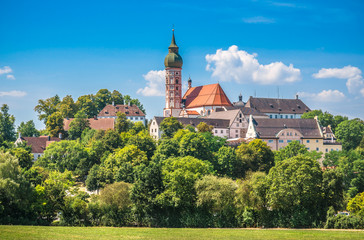 Andechs Abbey in summer, district of Starnberg, Upper Bavaria, Germany Wall mural