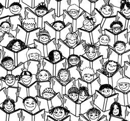 Hintergrundmuster von handgezeichneten Kindern die Bücher lesen - schwarzweiß