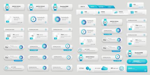 Blue online business buttons set